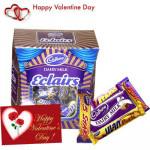 Cadbury Hamper - Cadbury Eclairs 189 gms + 5 Assorted Chocolates + Valentine Greeting Card