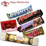 Assorted Chocolates - Snickers + Mars + Twix + Bounty + Ferrero 4 pcs + Valentine Greeting Card
