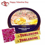 Valentine Choco Hamper - Danish Butter Cookies 454 gms + 2 Toblerone + Valentine Greeting Card