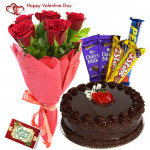 Flower N Cake Bonanza - 10 Red Roses Bunch, 1/2 KG Chocolate Cake, 5 Assorted Bars & Valentine Greeting Card