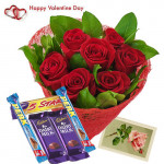 Valentine Choco Treat - 12 Red Roses + 5 Cadbury Chocolates + Card