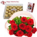 Valentine Ferrero Chocos - 12 Red Roses + Ferrero Rocher 24 pcs + Card