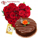 Valentine Classic Combo - 30 Red Roses Heart + Chocolate Cake 1/2 kg + Card