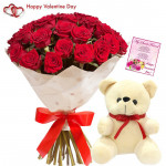 Flower with Teddy - 10 Red Roses Bunch + Teddy 6 inch + Card