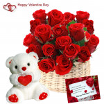 "Roses & Teddy - 15 Red Roses Basket + Teddy with Heart 8"" + Card"