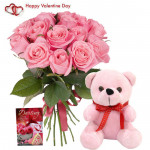 Love Combo - 12 Pink Roses in Bunch, Teddy 6 inch and Card