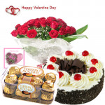 Valentines Choco Delight - 12 Red Roses+ 16 pcs Ferrero Rocher + 1/2 kg Black Forest Cake + Card