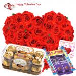 Delicious Hamper - 50 Red Rose Heart Shape Arrangement, Ferrero Rocher 16 pcs, 5 Assorted Bars and Card