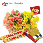 Colorful Gift - 50 Yellow & Red Roses Basket, 3 Temptations, 2 Toblerone and Card