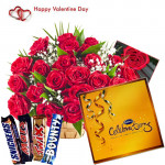 Love Celebration - 50 Red Rose in Basket, Snickers, Mars, Bounty, Twix, Cadbury's Celebrations Pack and Card