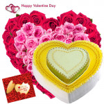 Double Treat - 150 Pink & Red Roses Heart Shape, Double Heart Shape Cake 2.5 kg and Card