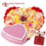 Flower with Cake - 100 Life Size Arrangement 4 ft Mix Roses, 2 Kg Heart Shape Strawbery Cake and Card