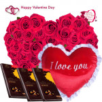 """Loving Gift - 50 Red Roses in Basket, Heart Shape Pillow 8"""", 3 Bournville 30 gms and Card"""