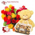 "Lovely Heart - Heart Shape Arrangement 50 Mix Roses, Ferrero Rocher16 Pcs, 6"" Teddy and Card"