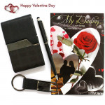 Gift Set - Pen, Key Chain, Visiting Card Holder Gift Set and Card