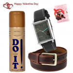 World's Best - Sonata Watch White & Gray Dial, Lomani Do It Deo, Leather Belt and Card