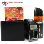 Deo Accesory Combo - Park Avenue Deo, Leather Black Wallet, Leather Black Belt and Card