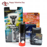 Love for Hubby - Mach3 Shaving Razor, Gillette Foam, Gillette Aftershave and Card