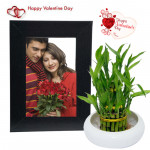 Lucky Photo Frame - Photo Frame, Bamboo Plant & Valentine Greeting Card