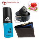 Leather Belt n Wallet with Deo - Leather Wallet, Belt, Addidas Deo & Valentine Greeting Card