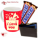 Chocolaty Mug with Wallet - I Love You  Mug, Leather Wallet, 2 Snicker Bars &  Valentine Greeting Card