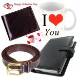 Lifetime Gift Set - Leather Diary, Leather Wallet, Leather Belt, I Love You Mug & Valentine Greeting Card