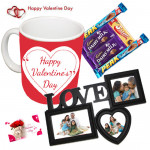 Love Hamper - Love Heart Photo Frame, Happy Valentines Day Mug, 5 Assorted Bars &  Valentine Greeting Card