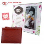 Love Frame n Wallet - Love Photo Frame, Leather Wallet & Valentine Greeting Card