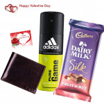 Valentine Fragrance - Leather Wallet, Addidas Deo, Dairy Milk Silk & Valentine Greeting Card