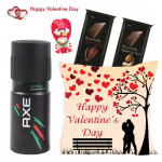 Chocolaty Deo - Happy Valentines Day Cushion, Axe deo, 2 Bournville & Valentine Greeting Card