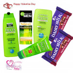 Garnier Care - Garnier Fructis Shampoo, Garnier Fructis Conditioner, Garnier Fairness Moisturizer, Garnier Fructis Styling Gel, 2 Cadbury Fruit N Nut & Valentine Greeting Card