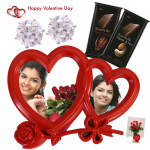 Double Heart Delight - Double Heart Photo Frame, 2 Bournville, Round Solitaire Earings & Valentine Greeting Card