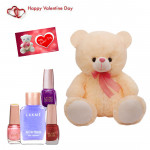 "Tender Combo - 1 Lakme Nail Enamel Remover, 3 Nail Paints, Teddy 8""  & Valentine Greeting Card"
