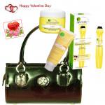 Girl For You - Black Handbag, Garnier Eye Roll On, Garnier Light Daily Moisturizing Cream, Garnier Light Fairness Face Wash & Valentine Greeting Card