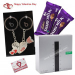 Fragrance of Love - Paradis Infern Perfume, Love Keychain, 2 Dairy Milk & Valentine Greeting Card