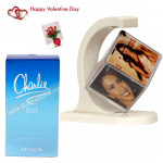 Floating Joy - Personalized Floating Cube, Charlie Blue Perfume & Valentine Greeting Card