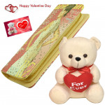 "Clutch N Teddy - Printed Pink Clutch With Zip, Teddy 10"" With Heart & Valentine Greeting Card"
