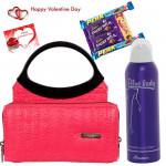 Grand Girl's Hamper - Pink & Black Ladies Bag, Rasasi Blue Lady Deodorant Spray, 5 Assorted Bars & Valentine Greeting Card