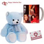 Teddy with Mug - Personalized Mug, Teddy Bear (6 inches) & Valentine Greeting Card