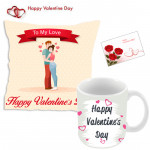 Personalized Hamper - Happy Valentines Day Pillow, Happy Valentines Day Mug with Message & Valentine Greeting Card