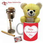 Mug N Message - Happy Valentines Day Mug, Teddy 6 inch, Messages in a Bottle & Card