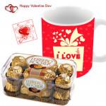 Golden Love - I Love You Mug, Ferrero Rocher 16 Pcs & Card