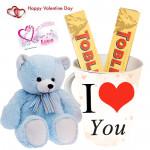 Teblerone Teddy Mug - I Love You Mug, 2 Toblerone, Teddy 6 inch & Card