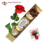 Rose of Love - Ferrero Rocher 4 Pcs, Artificial Red Rose & Card