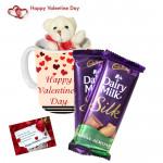 Mug Teddy Silk - Happy Valentines Day Mug, Small Teddy, 2 Dairy Milk Silk & Card