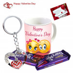 Double Mug Treat - Happy Valentines Day Mug, 2 Dairy Milk Fruit N Nut, Heart in Heart Keychain & Card