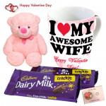 Mug N Crackle - Happy Valentines Day Mug, 2 Dairy Milk Crackle, Teddy 6 inch & Card