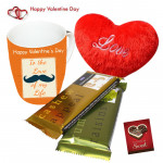 Mug Temptation Pillow - Happy Valentines Day Mug, 2 Temptations, Small Heart Pillow & Card