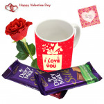 Mug Silk Rose - I love You Mug, 2 Dairy Milk Silk, Artificial Red Rose & Card