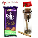 Choco N Bottle - Dairy Milk Silk, Messages in a Bottle & Card